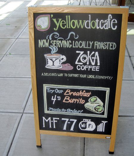 coffeehouse sidewalk board