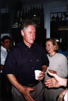 Bill Clinton with a cup of coffee