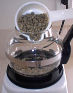 pour green beans into roaster