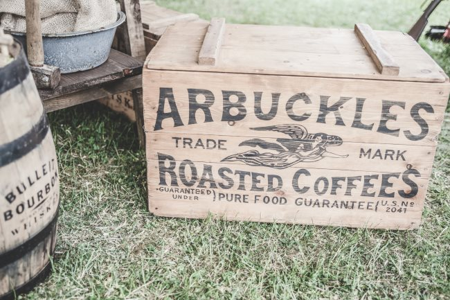 arbuckles coffee wooden crate