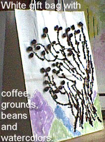 White Gift Bag with coffee grounds, beans and watercolors