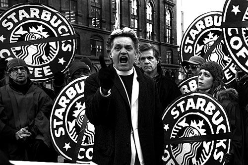 Rev Billy Preaching Outside Starbucks