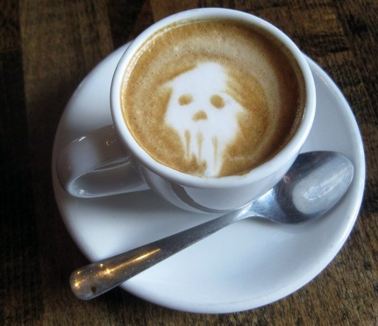 skull latte art