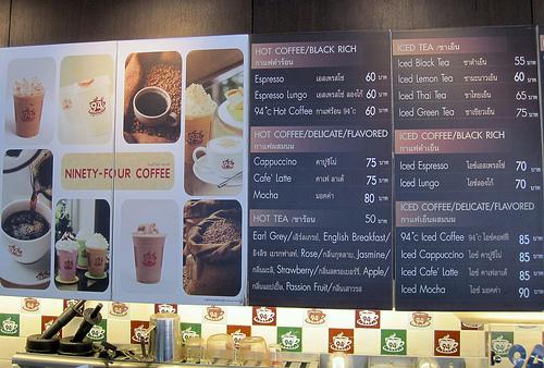 94 Coffee Menu