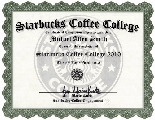 Starbucks Coffee College degree