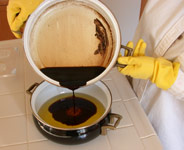Lye and oils mixed