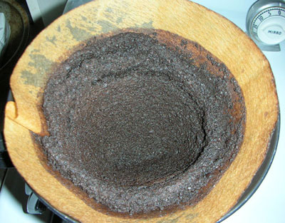 Coffee grounds after pour