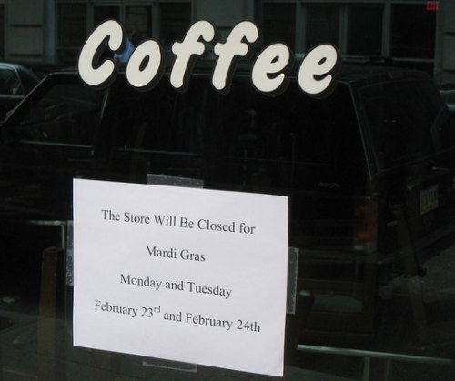 Coffee Place Closed