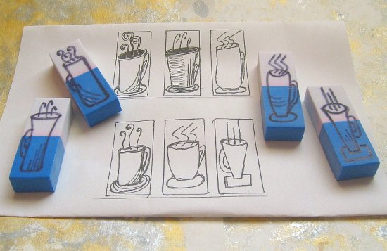 Coffee cup eraser art stamp carving relaxing and fun i