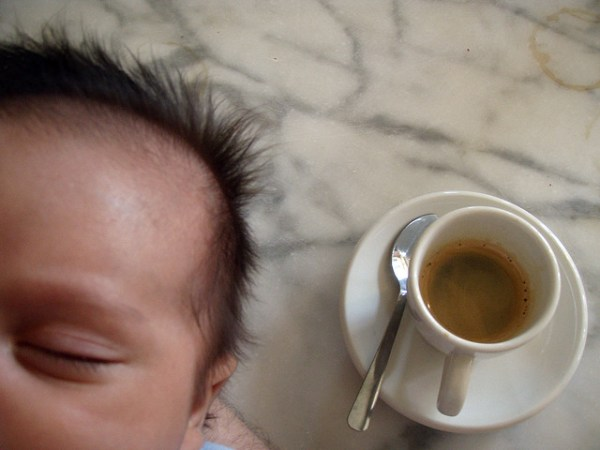baby and coffee