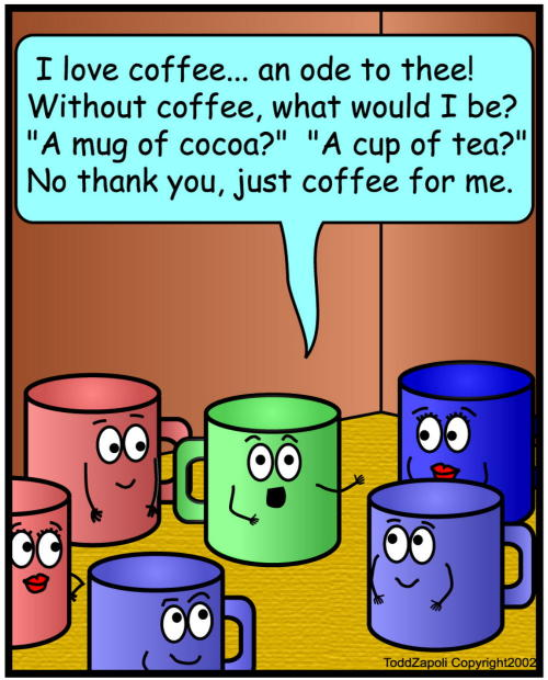 comic love coffee poem