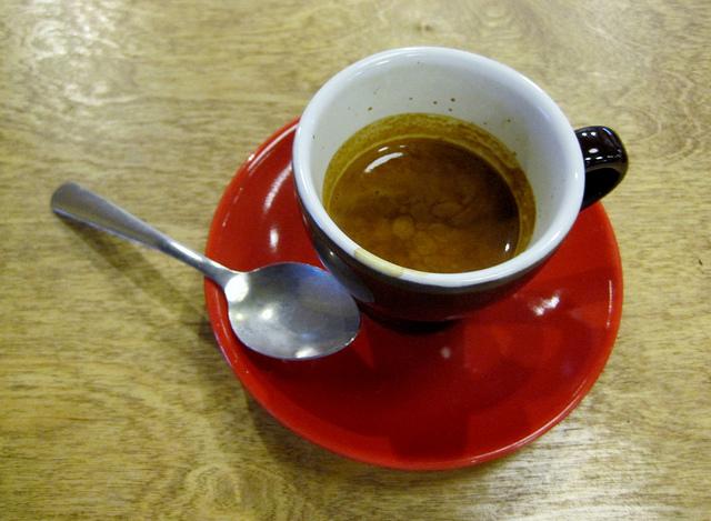 espresso red saucer
