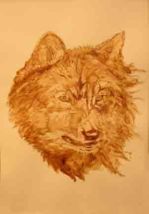 wolf portrait - Coffee artwork