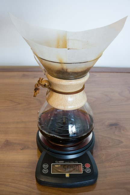 chemex coffee brewing - near finished