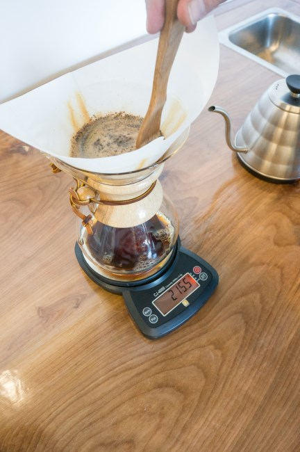 optional chemex coffee stir with wooden spoon