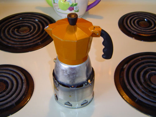 moka pot on burner