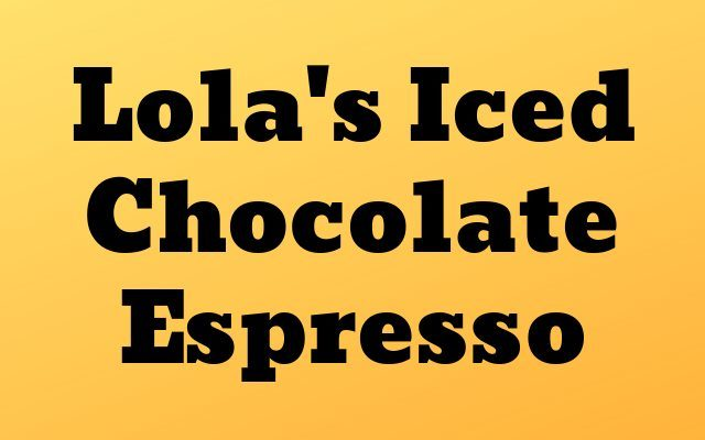 Iced Chocolate Espresso Recipe