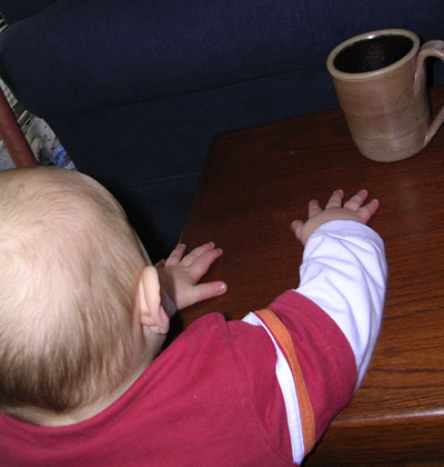 baby reaching for coffee mug