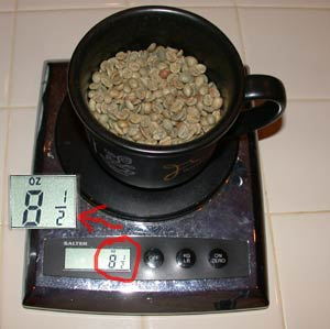 kitchen scale weighing green coffee
