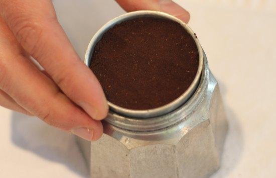 add coffee to stovetop espresso