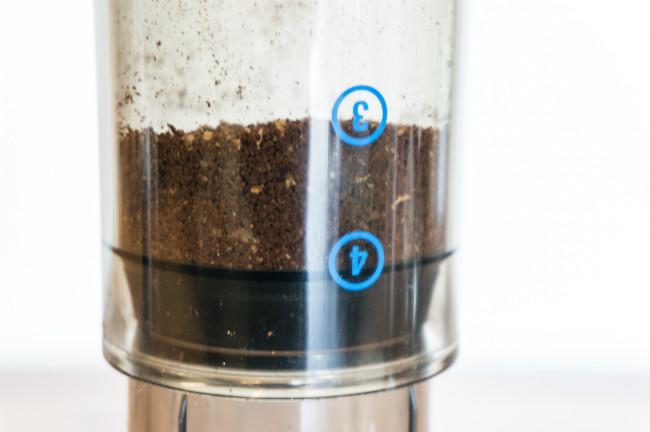 aeropress with ground coffee
