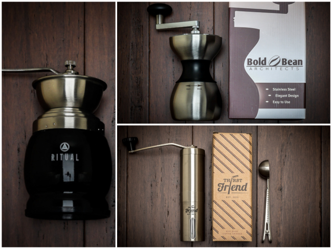 Manual Coffee Grinder Comparison (Thirst Friend, Ritual, and Bold Bean Architects)