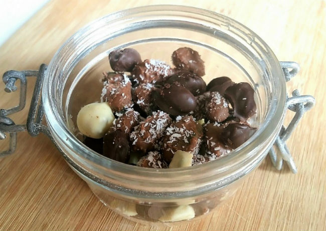 Chocolate Covered Coffee Beans in jar