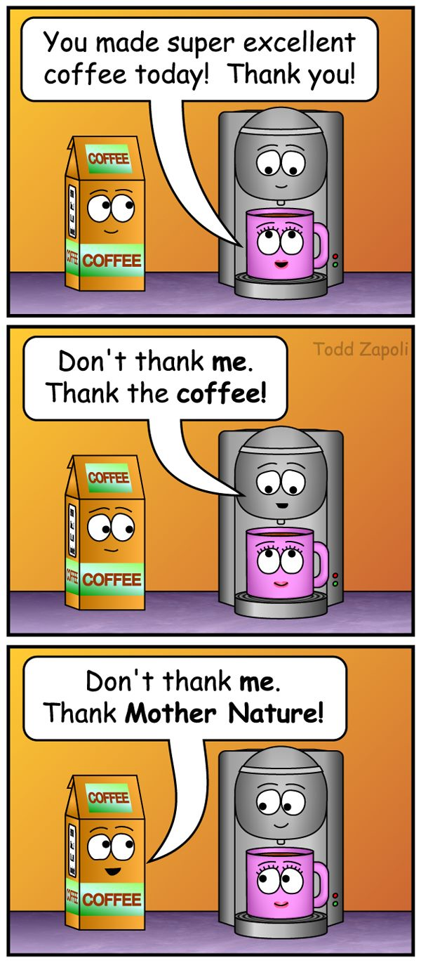 Thank Mother nature coffee comic