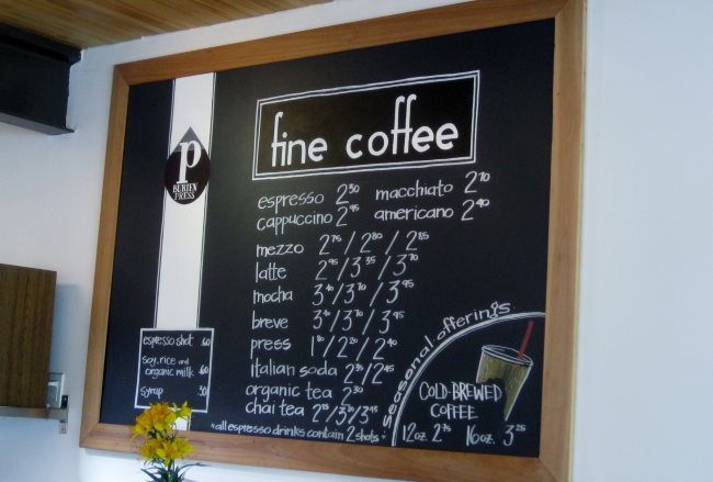 coffee shop menu 2011