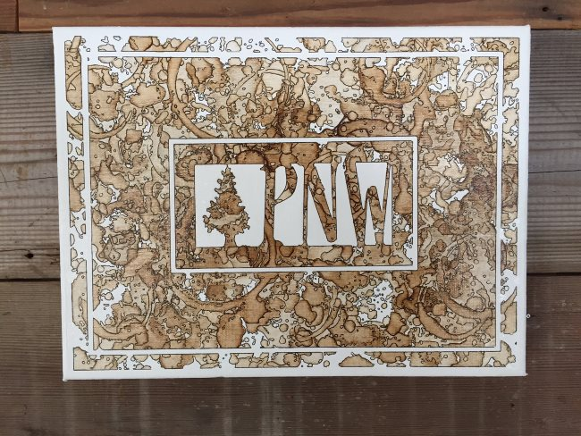 PNW Monogram - Pacific Northwest, Coffee on Canvas