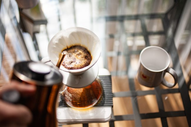 v60 coffee first pour